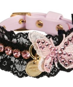 Collare cani Butterfly in Black and Pink