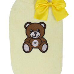 T-Shirt Little Teddy gialla per cani